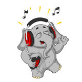 Big collection vector cartoon characters of elephants on an isolated background. Listening to music on headphones. Elephant cute Nick. Big collection vector Stock Photos
