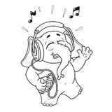 Big collection vector cartoon characters of elephants on an isolated background. Listening to music on headphones. Elephant cute Nick. Big collection vector Stock Photography