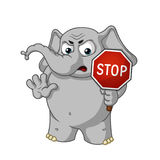 Big collection vector cartoon characters of elephants on an isolated background. Stop sign holds in hands Warning Displeased. Elephant cute Nick. Big collection Royalty Free Stock Photography