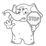 Big collection vector cartoon characters of elephants on an isolated background. Stop sign holds in hands Warning Displeased Stock Photography