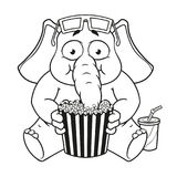 Big collection vector cartoon characters of elephants on an isolated background. Watching movie in 3D glasses eating popcorn Royalty Free Stock Images