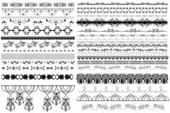 Big collection of vector decorative borders. For design Royalty Free Stock Image