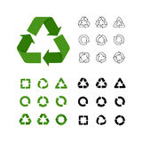 Big collection of vector recycle reuse icons various style linear, flat, simple Royalty Free Stock Photography