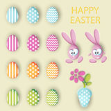 Big collection vector set of easter eggs, rabbits eggs and pot with a flower Stock Photos