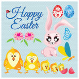 Big collection vector set of easter floral eggs, rabbit, chickens, butterfly stock illustration
