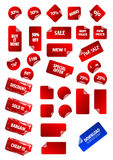 Big collection of vector sticky price labels. Royalty Free Stock Photography