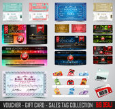 Big Collection of Voucher Gift Card layout templates Royalty Free Stock Image