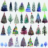 Big collection of watercolor Christmas tree  on a white background. Stock Images