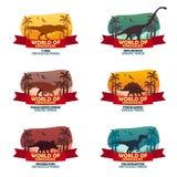 Big collection World of dinosaurs. Prehistoric world. T-rex, Diplodocus, Velociraptor, Parasaurolophus, Stegosaurus, Triceratops. Big collection World of Stock Image