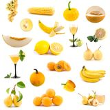 Big collection of yellow vegetables and fruits Stock Photo