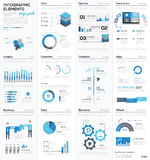 Big colletion of blue infographic business vector elements stock illustration