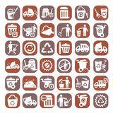Big color garbage icons. Color Garbage And Cleaning Icons Set Created For Mobile, Web And Applications Royalty Free Stock Photography