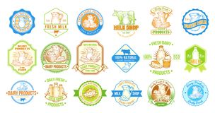 Set of illustrations, badges, stickers, labels, stamps for milk and dairy products Royalty Free Stock Image