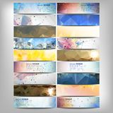 Big colored abstract banners set. Conceptual. Triangle design vector templates. Modern abstract banner design, business design and website templates Royalty Free Stock Images