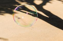 Big colored soap bubbles in the park royalty free stock image