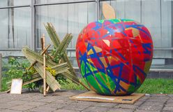 Big colorful apple. Outdoors exposition of Arch Moscow Next! 18 International Exhibition of Architecture and Design. Location: the Central House of Artists ( Royalty Free Stock Photos