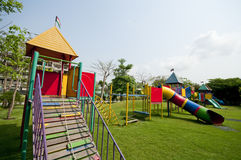 Big colorful children playground. Equipment in middle of park Royalty Free Stock Images