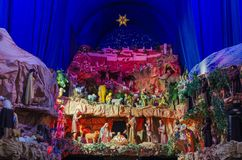 Big and colorful Christmas crib. In a church in Poznan, Poland the biggest crib in Poland taking place every year between December and February stock photos