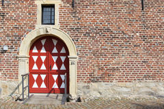 Big colorful door in the old stoned wall Stock Photos