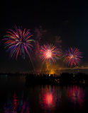 Big and colorful firework explode in dark sky in celebration time Stock Photos