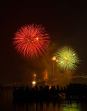 Big and colorful firework explode in dark sky in celebration time Stock Photo