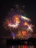 Big and colorful firework explode in dark sky in celebration time Royalty Free Stock Image