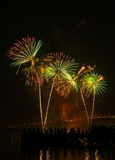 Big and colorful firework explode in dark sky in celebration time Royalty Free Stock Photos