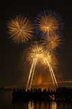 Big and colorful firework explode in dark sky in celebration time Royalty Free Stock Images