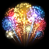 Big colorful fireworks. Multicolored lights. Vector. Illustration Stock Photography