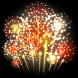 Big colorful fireworks. Red and yellow lights. Vector. Illustration Stock Image