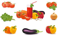 The big colorful group of vegetables and glass Royalty Free Stock Photo