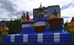Big, colorful, inflatable castle labyrinth Stock Photo