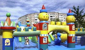 Big, colorful, inflatable castle labyrinth stock photography
