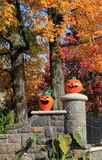 Big,colorful jack-o-lanterns on stone wall Royalty Free Stock Photos