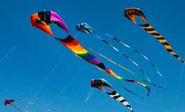Big colorful kites against blue sky Stock Photos