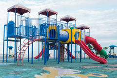 Big colorful Playground equipment and sky Stock Photo