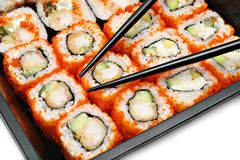 Big colorful sushi set and chopsticks Stock Photography