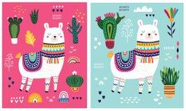 Big colorful set with llama, flowers, birds and ethnic design elements stock illustration