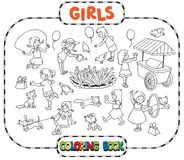 Big coloring book with playing girls Royalty Free Stock Photo