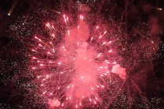 A big coloured fireworks at black night , Serbia. Great big coloured fireworks. With an interesting night in Belgrade with pleasure in Serbia, 2017 Royalty Free Stock Photo