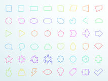Big Colourful Generic Outline Icon Shapes Set Vector. Big vector set of 48 different generic colourful outlined flat icon shapes with space for text made in royalty free illustration