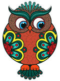 Big colourful ornate rounded owl Stock Photography