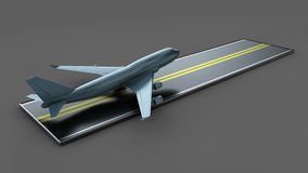 Big Commercial airplanes. 3D illustration. On gray Stock Photo