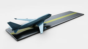 Big Commercial airplanes. 3D illustration. On white Royalty Free Stock Images