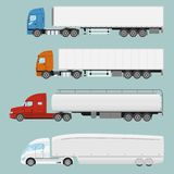 Big commercial semi truck with trailer. Trailer truck in flat style isolated. Delivery and shipping business cargo truck. Vecror illustration vector illustration