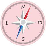Big Compass with divisions. Great compass for travel landmark with divisions and arrows, blue and red arrow and rose of winds Royalty Free Stock Image