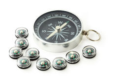 Big compass with eigth black small compasses Royalty Free Stock Images