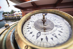 Big compass on a ship Royalty Free Stock Image