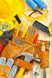 Big composition of working tools on wooden boards Royalty Free Stock Photos