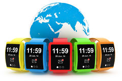 Big conceptual multicolour smart watches with Earth Globe Stock Photo